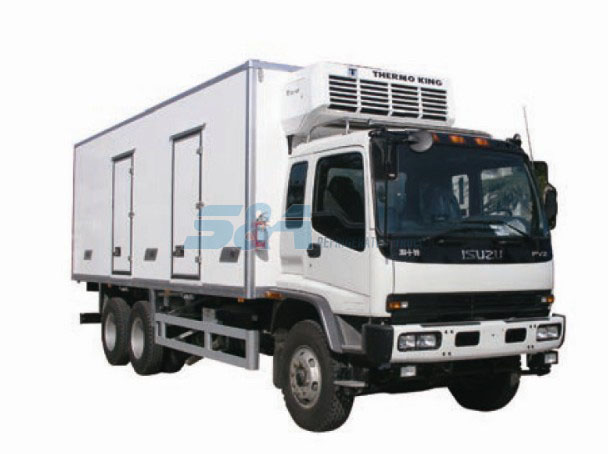 Isuzu F Double side door 280 HP refrigerated truck
